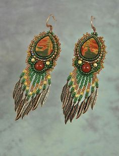 Red Creek Jasper~ Beadwork Earrings
