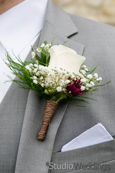 Fall Boutonniere [ eStudio Wedding Photography - http://estudioweddings.com/ ]