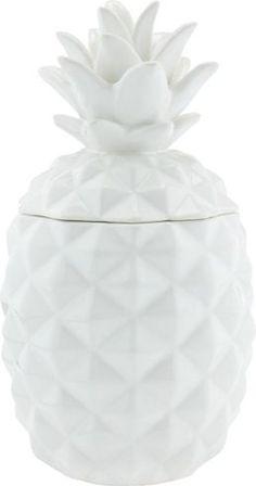 Hübsche Dekofrucht aus Keramik in Weiß - eine Ananas für süße Schätze