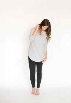*pre-sale* Tiramisu Tunic Top – light grey – ships in 4 to 6 weeks  $66.00  The no-fuss Tiramisu Tunic Top is for busy days just like these. Made with yummy bamboo/cotton jersey, this scoop-neck top was designed to cover bra straps and has 3/4-length sleeves that can be worn long or pushed up to the elbow. Bra Straps, Fall 2016, Capsule Wardrobe, Tiramisu, Push Up, Bamboo, Scoop Neck, Ships, Normcore