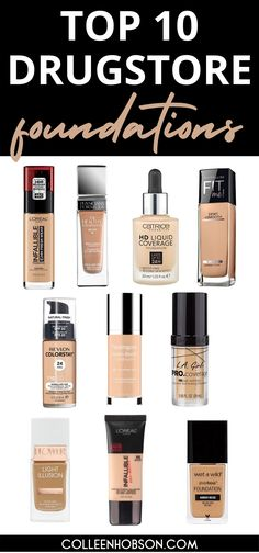 On the hunt for an affordable high performing drugstore foundation? Find out which amazing top 10 are worth the buy. #best #drugstore #foundation Revlon Colorstay Foundation, Best Drugstore Foundation, Makeup Tips Foundation, Foundation Dupes, Best Walmart Foundation, Foundation Colors, Beauty Balm, Beauty Dupes, Beauty Makeup