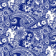 Tutti Fruitti Collection- Rodeo Gal Paisley Floral Blue, , hi-res