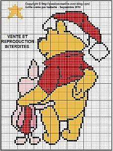 Winnie l'ourson et porcinet Noel  click on photo for chart