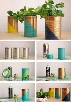 ideas de latas de conserva decoradas, técnicas de decoración originales, macetas hechas a mano