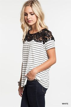KISSmeMINT Stripes and Lace Top