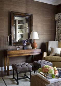 grasscloth, console table and lamp