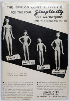 1940s Sewing Pattern, SIMPLICITY, Dresses for Their Doll Mannequin