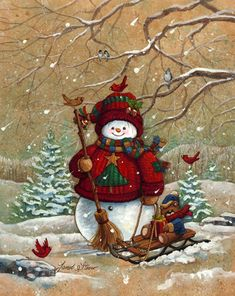 Snow Pals by Janet Stever ~ Christmas ~ winter ~ snowman ~ teddy ~ sled ~ cardinals