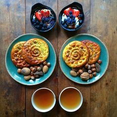 """This Is What Breakfast Looks Like Around The World #refinery29  http://www.refinery29.com/2015/12/98897/breakfast-recipes-around-the-world#slide-8  Iran: Koloocheh""""There is a lovely café in Fitzrovia, London, called Gitane that sells delicious Persian food. They also make these cookies; they are filled with a mix of nuts and spices, and stamped with a wood mold to make the pattern.""""..."""