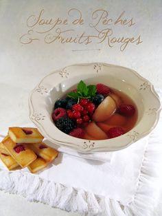 J'en reprendrai bien un bout...: Soupe de Pêches & Fruits Rouges - Financiers à la Framboise
