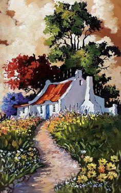 Landscape Pencil Drawings, Landscape Artwork, Landscape Pictures, Abstract Landscape, Canvas Painting Projects, Diy Canvas Art, Acrylic Painting Canvas, African Art Paintings, Cottage Art