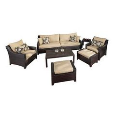 8 Piece Cabo Outdoor Seating Set in Beige