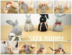 Come fare coniglietti pasquali riciclando i calzini. Progetto perfetto da fare con i bimbi: veloci e facili da fare e senza ago e filo.