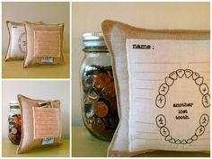 Tooth Fairy Pillow with Record Chart -I really wish I'd had this for my girls as they started losing teeth. I guess I can still get one.
