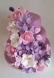 Fondant- The Wedding Cake Blog: Floral Cascade Wedding Cakes
