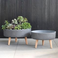 Plant-friendly clay is mixed with fiberglass to make it ultra lightweight and fired without glaze for a modern look. Finished with slim beech wood leg Outdoor Planters, Garden Planters, Planter Pots, Cement Flower Pots, Cement Pots, Dream Furniture, Concrete Crafts, At Home Store, Tripod