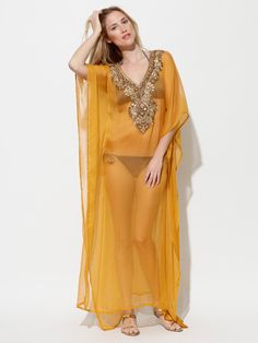 First she must go shopping...    Marena Y Sol   Canaries Embellished Chiffon Caftan