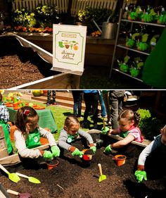 Insanely Creative Veggie Patch Birthday Party -- note the favors of buckets, gloves, etc.