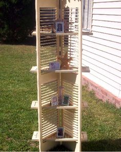Shutter repurposing; take out some slats and insert the boards for shelves.  Great cottage style recycle project.  Look for shutters at Estate ReSale & ReDesign, LLC in Bonita Springs, FL or your local thrift store.
