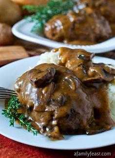 Salisbury Steak - Comfort food at it's best.  Tender quality beef and pork Salisbury Steak patties served with an amazing mushroom sauce!!