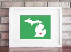 Customize Your Home Is Where The Heart Is  Michigan by LilyGene, $25.00