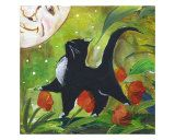 tuxedo cats and pigs   Tuxedo Cat With Moonface & Tulips