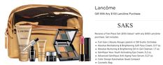 A free 7-pc Lancome gift at Saks (valued at $155) with any $100 Lancome purchase - enter promo code LNCME39SF. Lancome Gift Set, Lancome Gift With Purchase, Cosmetics, Gifts, Free, Presents, Favors, Drugstore Makeup, Gift