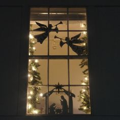 Flying Angel Decoration - Shown with Window Nativity Set (Sold Separately)