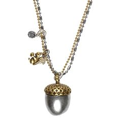 Glamours and sophisticated, this Hultquist Jewellery Acorn and Squirrel necklace is a definite investment piece - go on treat yourself.http://www.lizzielane.com/product/hultquist-jewellery-gold-and-silver-acorn-necklace-with-squirrel-and-crystal-ball/