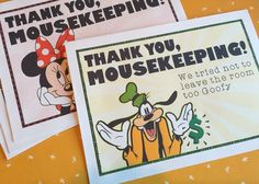 DIY Mousekeeping Envelopes { or 5x7 notes }   DIY Mousekeeping Disney Vacation Tips Cards Notes Pockets Housekeeping Uprint Instant Download