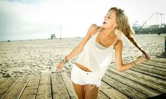 white cutoffs, swingy white tank, and a long braid.  perfect for the beach