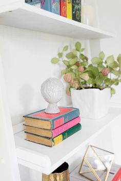 Rifle Paper Co.'s Office // White bookshelves, Plants, and books