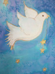 Peace Dove by The Silk Maid Peace Dove, Textile Art, Tatting, Mermaid, Textiles, Hand Painted, Bird, Creative, Birds