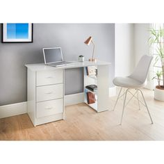 Simple design with an elegant finish, this Lokken Desk combines function with style and would look perfect in any home office environment - B&M Stores. Desk Shelves, Shelving, Home Office, Office Desk, Office Furniture, Home Furniture, Office Environment, Desk With Drawers, Design Your Home