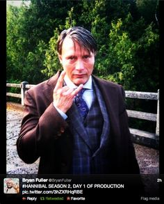 OMFG! I'M LITERALLY SCREAMING RIGHT NOW!  Day 1 of production! Mads is doing the rock sign thing which I've done at least 3 times today! And the new paisley tie!!!!!!
