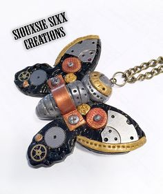 Steampunk Butterfly Pendant Made of by SiouxsieSixxCreation