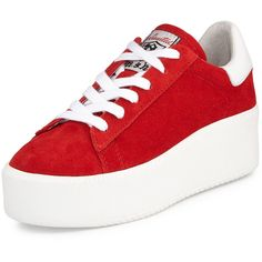 Ash Cult Suede Platform Sneaker (150 AUD) ❤ liked on Polyvore featuring shoes, sneakers, vans, white trainers, ash sneakers, ash shoes, high heel shoes and white platform shoes