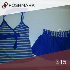 Kids Cream and Blue Tankini w/ skirt bottom Cream & Blue Tankini with skirt bottom. morale Swim Bikinis