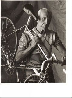 """Pablo Picasso rides a bike.""  Not really… that man is a Picasso look alike named Bill Hurlow"