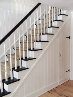 black and white stairs with beige runner - Google Search