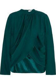Wrap-effect silk blouse