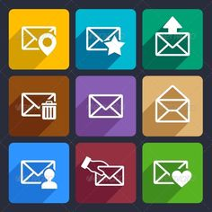 Mail  Flat Icons Set 48 — Vector EPS #communication #arrow • Available here → https://graphicriver.net/item/mail-flat-icons-set-48/6977757?ref=pxcr