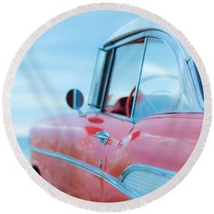 Florida Round Beach Towel featuring the photograph Red Chevy '57 Bel Air At The Beach Square by Edward Fielding