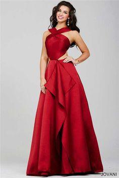 Halter Neck Side Cutout Jovani 32639 Long Prom Dresses Discount