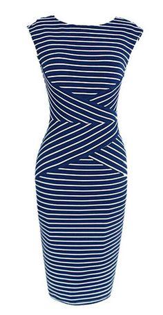 Blue Mixed Stripe Sleeveless Bodycon Midi Dress