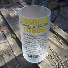 Recycled Absolut Citron Vodka tumbler from bottlehood on Etsy.