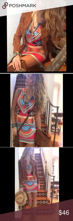 Cool colorful Aztec dress New and not worn. I love love love this one. Look coahella worthy all year long. This is such a cool style. Please don't buy this one!!! I will make you a listing. No trades!! Dresses