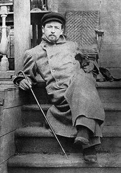 Anton Chekhov with a dachshund.