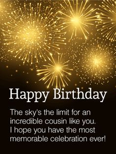 to my incredible cousin happy birthday wishes card bright starbursts take center stage