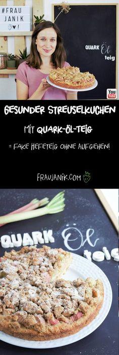 Gesunder Streuselkuchen mit Quark-Öl-Teig = fake Hefeteig ohne Aufgehen, fruchtig & saftig… #hefeteig #quarkölteig #streuselkuchen #gesundbacken #kuchen #rhabarber #rhabarberkuchen #gesunderkuchen #fraujanik